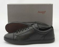 Mens BRIONI Black Leather Cap-Toe Lace Up Low Top Sneakers Shoes US 9 D NIB