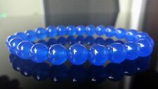 Blue Sapphire Gemstone Bead Bracelet for Men or Women (On Stretch) 8mm - 7.5""