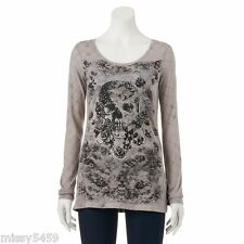 ROCK & REPUBLIC Women's Skull Rose Chain Link Jeweled Graphic Top Size S