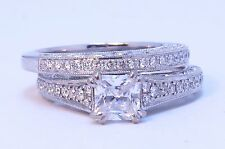 14k White Gold Scott Kay Diamond Heaven's Gate Eternity Wedding Set Ring