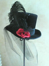 "BLACK VELVET TOP HAT-OSTRICH FEATHER,VEIL,RED ROSE--M/L 22.5-23"" or 7 1/4-7 3/8"