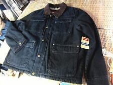NWT new WRANGLER Sherpa faux fur Lined BLACK JEAN JACKET COAT mens XL DENIM work