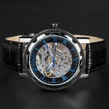 Mens Skeleton Mechanical Stainless Steel Wrist Watch Steampunk Black Leather