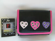 LADIES FASHION SMALL PURSE/WALLET BY FABRETTI - BLACK WITH HEARTS & STUDS ]