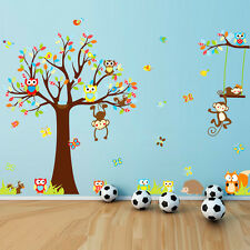 Monkey Owl Animals Tree Removable PVC Wall Decal Stickers Kids Room Home Decor