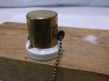 Vintage HUBBELL Porcelain Pull Chain Ceiling Wall Mount On/Off Switch  Pat. 1901
