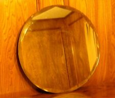 "Vintage 18"" Round Diamond Beveled Glass Mirror"