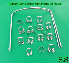Rubber Dam Clamps with Frame 16 Pieces Dental Surgical Instruments Set