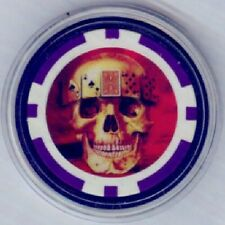 SKULL with Aces and Eights CARDS poker chip Card Guard Cover Protector - Purple