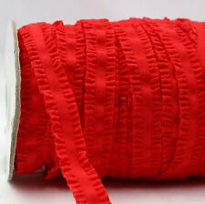 Red Frilly Ruffle FOE Fold Over Elastic 16mm - 2 Yards