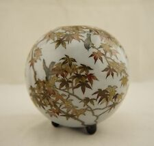 Signed Sosuke-style Meiji Japanese cloisonne silver wire maple tree & bird vase