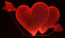Optinox Hearts 3D illusion LED gift table night lamp