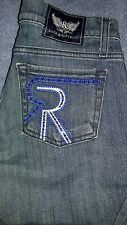 Rock & Republic Kasandra Bootcut Low Rise Boot Cut Jeans Blue Crystal 26 x 28.5