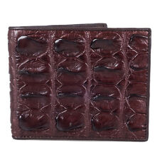 Genuine Crocodile Big Bone Tail Skin Leather Men Brown Bifold Wallet Kanthima