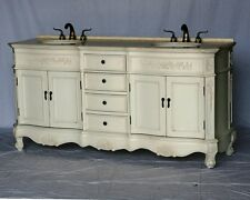 "72"" Antique White Double Sink Bathroom Vanity with Ivory Beige Cream Marble Top"
