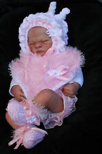 hand knitted baby girl   pink fur poncho fur  bonnet  booties . 0/3m