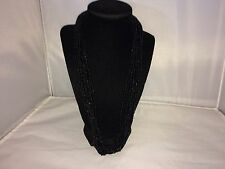 VTG. CROWN TRIFARI BLACK 10 STRAND LUCITE SEED BEADED GOLD TONE NECKLACE