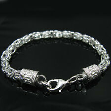 925Sterling Silver Solid Silver Down Dragon Head Strong Men Chain Braclet H096