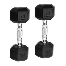 CAP Barbell Rubber Coated Hex Dumbbells Set of 2 12 lb Pair Weights Iron Gym New