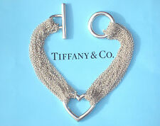 Tiffany & Co Sterling Silver Ten-Row Chain Heart Bracelet
