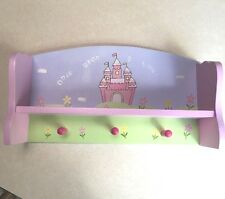 Pre-owned small shelf w 3 pegs for girl's room, w castle, flowers, pink, purple