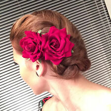2 x Rockabilly 50s PIN UP capelli Rose Red Velvet Clip Fascinator con Fiore
