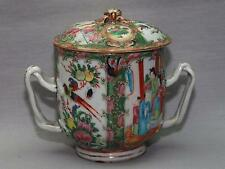 Antique Porcelain Chinese Canton Sugar Pot Lidded Jar Famille Rose