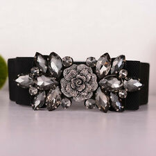 Womens Rhinestone Elastic Stretch Wide Waist Belt Buckle Adjustable Waistband