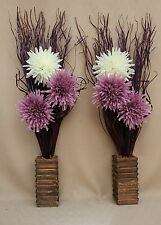 ARTIFICIAL SILK LILAC AND CREAM FLOWER BOUQUETS IN WOOD VASES ( SET OF 2 )