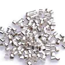 500/2000pcs Silver/Golden/White K/Gun Black Tube Crimp End Spacer Beads Jewelry