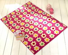 Daisy Pink Girls bedroom rug soft and easy to clean,120x160cm LOW PRICE.