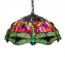 Tiffany Style Red Dragonfly Hanging Lamp Ceiling Light Stained Glass 305C