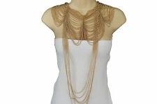 Women Long Fashion Necklace Wide Metal Chains 2 Piece Shoulder Bib Pendant Gold
