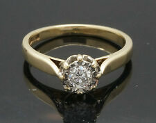 Vintage 9Ct Yellow Gold Illusion Set Diamond(0.25ct) Solitaire Ring (Size L 1/2)