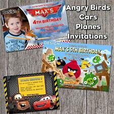 'You PRINT & SAVE' Personalised CARS PLANES ANGRYBIRDS Photo Birthday Invitation
