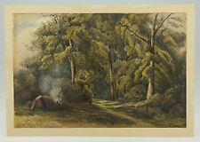 FINE QUALITY WATERCOLOUR PAINTING OF A FOREST - SIGNED & DATED 1856