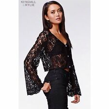 Kendall and Kylie black cropped bell sleeve  crochet laced top NWT size Small