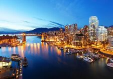 The City Of Vancouver and Harbor At Night Canada North America Poster 28''X19""