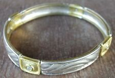 Silpada Sterling Silver Cubic Zirconia Brass Belle Stretch Bangle Bracelet B2706