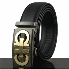 Belt Mens Gift Genuine Leather Cowskin Black Automatic Designer Buckle  New