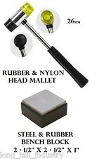 26mm Double-Sided Rubber Nylon Mallet w/ Steel Rubber Combination Bench Block