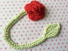crochet rose bookmark. valentines, present, gift, handmade, pick a colour