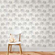 NUWALLPAPER ELEPHANT PARADE PEEL & STICK WALLPAPER GREY NU1405 FINE DECOR