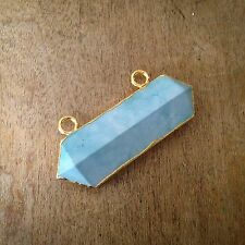 Turquoise Rectangle Connector Pendant - 24K Gold Dipped Blue Howlite Gemstone
