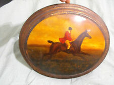 Antique Oval Horse and Rider Portait Oil Painting Jockey Hunt