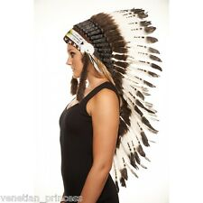 Brown Tip Feather Native American Indian Headdress Coachella MH006 USA SELLER
