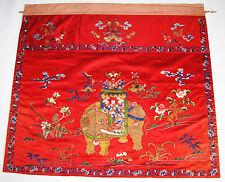 94x104cm China Stickerei antique chinese embroidery elephant buddhist emblems