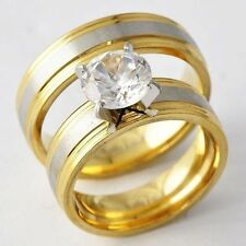D4568 Deluxe Yellow/White GF Unisex Clear CZ ball Couple Ring Sets Size 6.5 & 9#