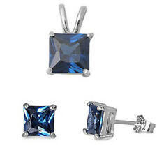 Princess Cut Blue Sapphire .925 Sterling Silver Earrings & Pendant Set