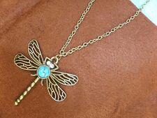 Libelle, mit edlem Türkis, Antik Bronze mit Kette; Schmuck, Anhänger, gold